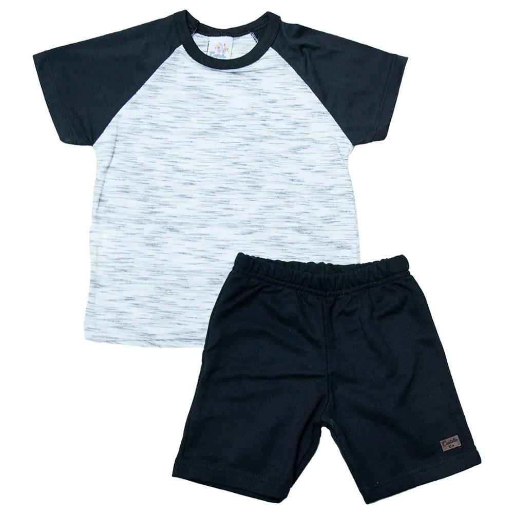 Conjunto Infantil Branco Com Preto  - Jeito Infantil
