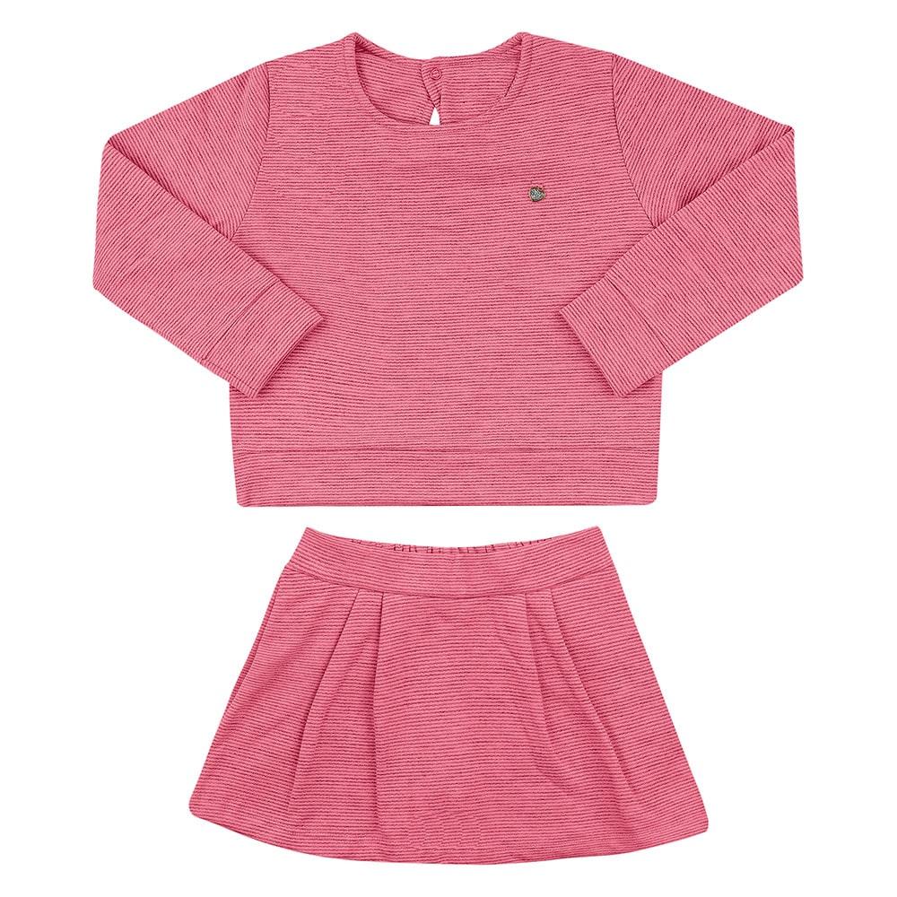 Conjunto Infantil Casaco e Short Saia Coral  - Jeito Infantil