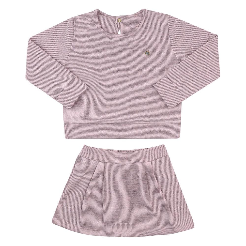 Conjunto Infantil Casaco e Short Saia Rosa  - Jeito Infantil