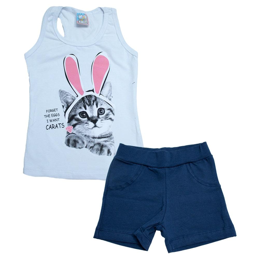 Conjunto Infantil Cat Rabbit Branco  - Jeito Infantil
