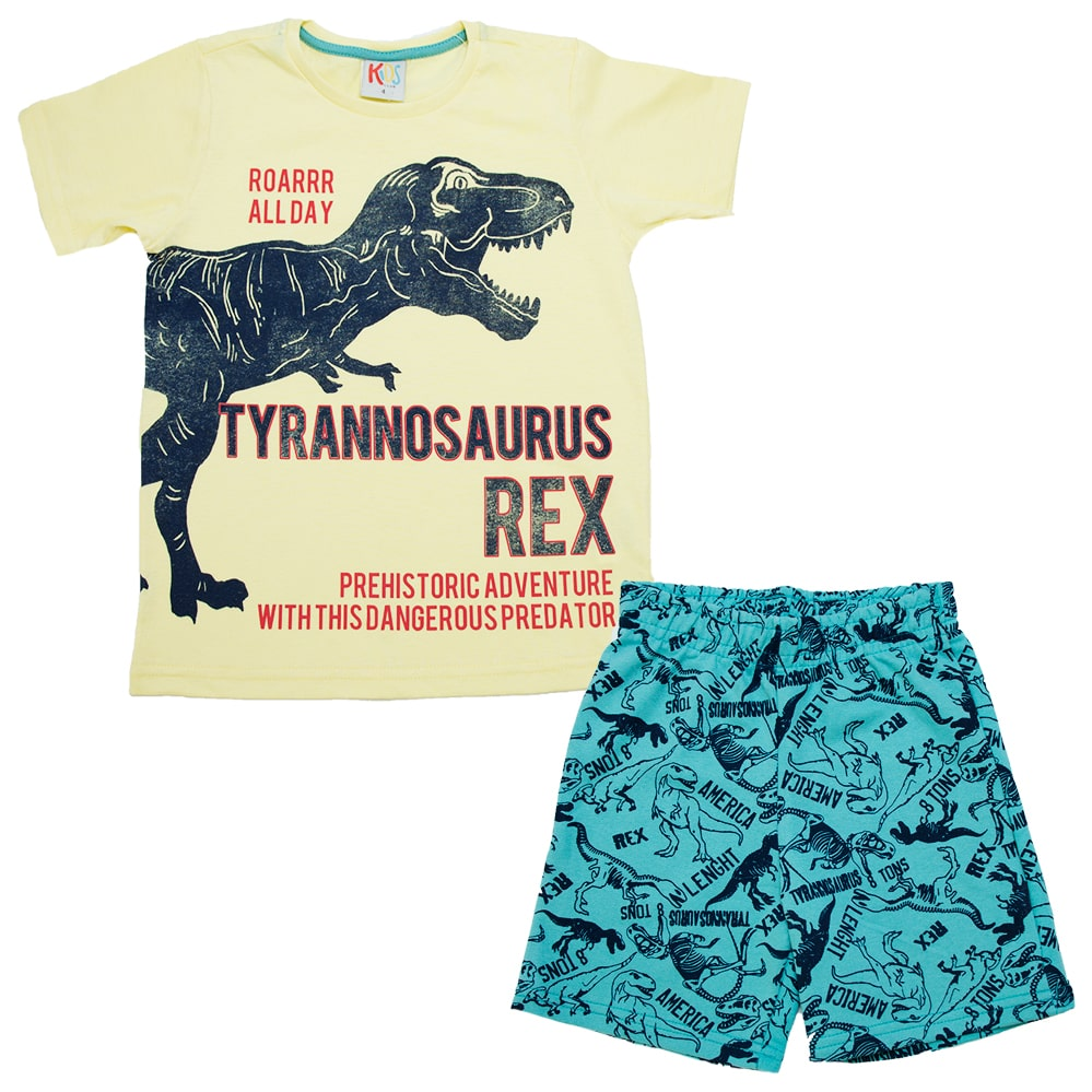 Conjunto infantil Dinossauro Rex Amarelo  - Jeito Infantil