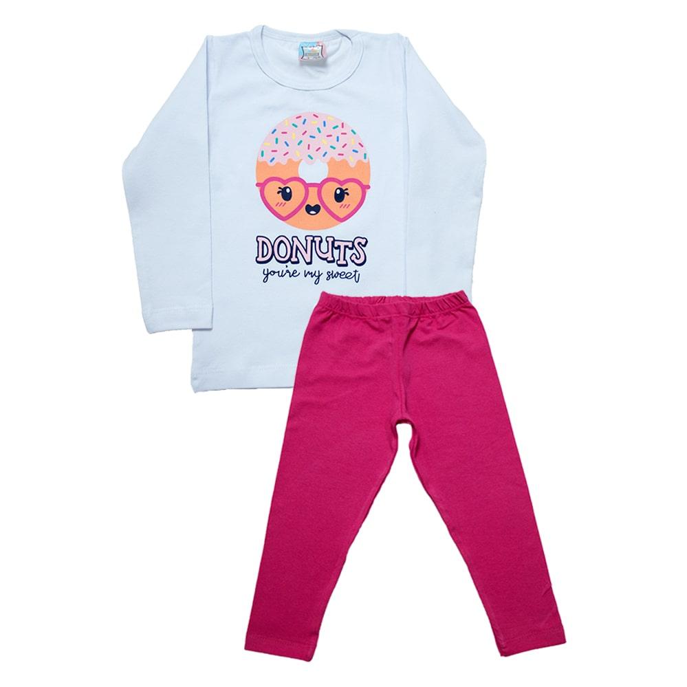 Conjunto Infantil Donuts Branco  - Jeito Infantil