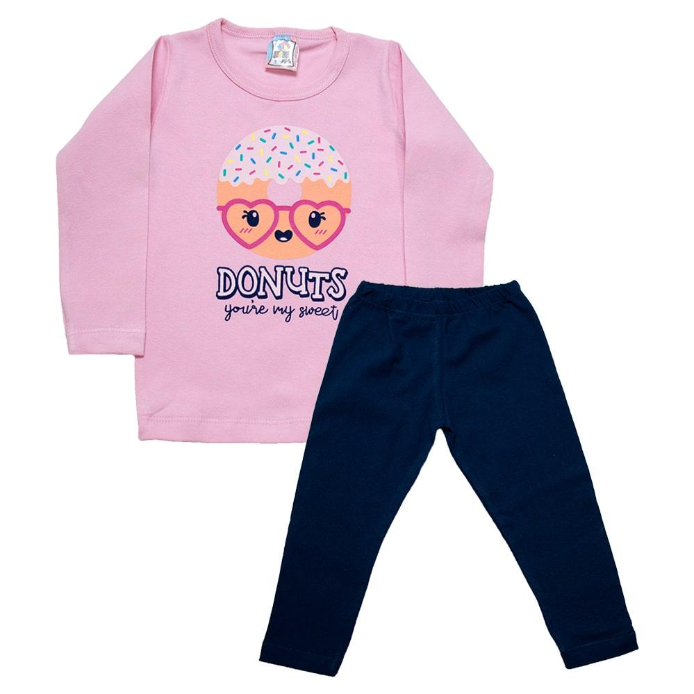Conjunto Infantil Donuts Rosa  - Jeito Infantil