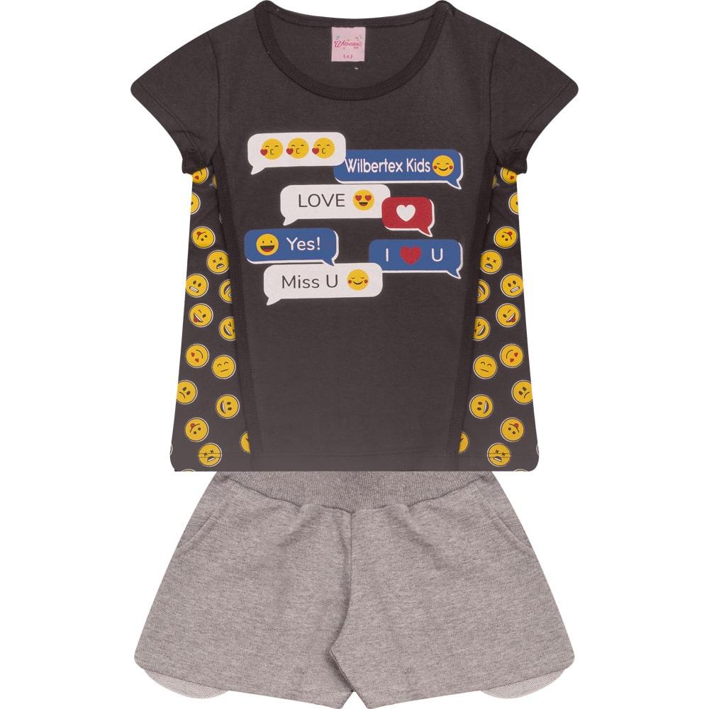 Conjunto Infantil Emoji Chumbo  - Jeito Infantil