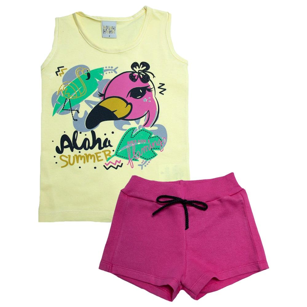 Conjunto Infantil Flamingo Amarelo  - Jeito Infantil