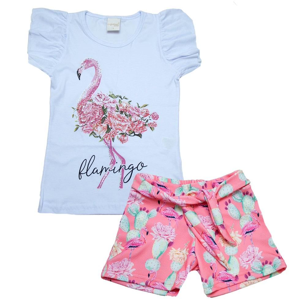 Conjunto Infantil Flamingo  Branco  - Jeito Infantil