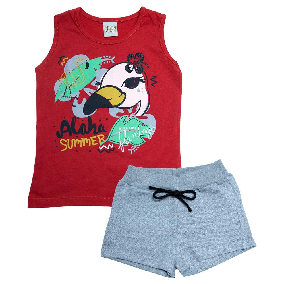Conjunto Infantil Flamingo Vermelho  - Jeito Infantil