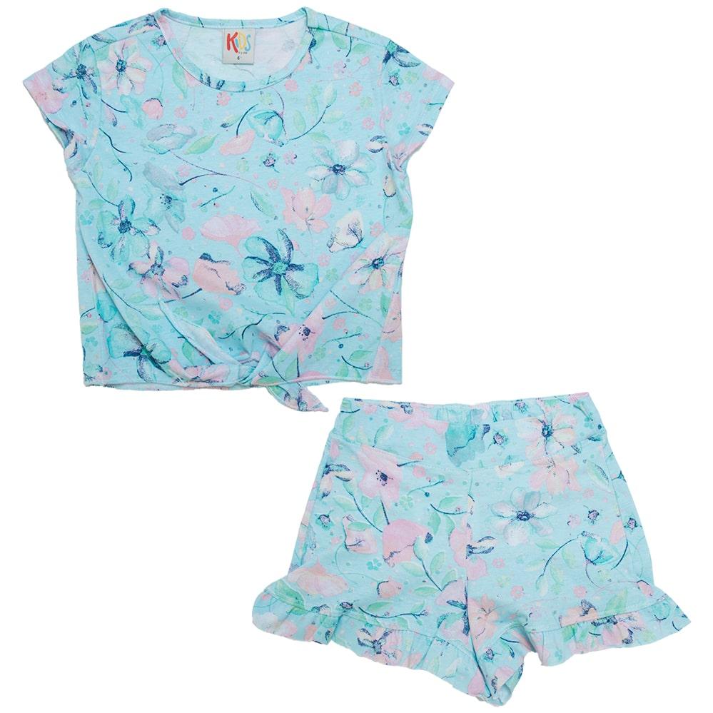 Conjunto Infantil Floral Azul  - Jeito Infantil