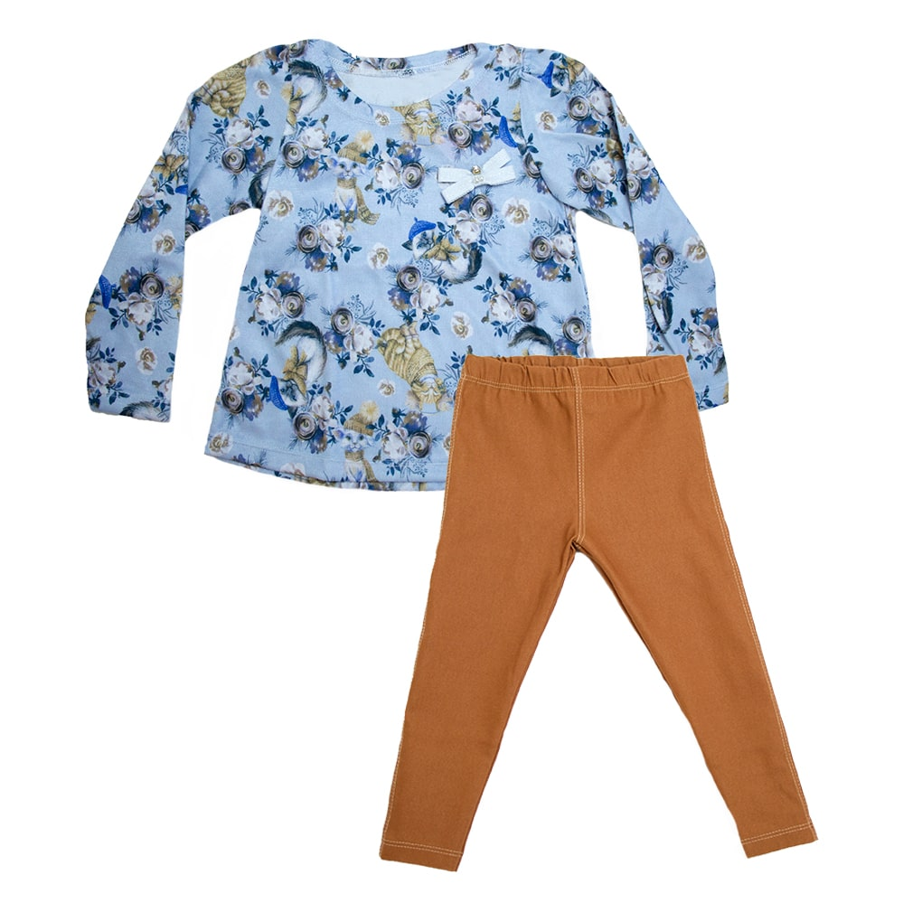 Conjunto Infantil Floral Cats Azul e Caramelo  - Jeito Infantil
