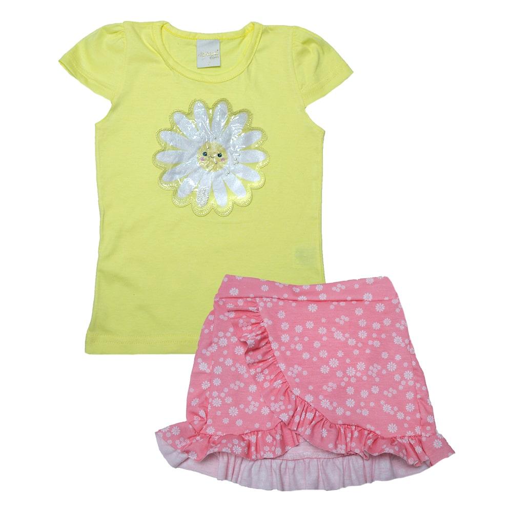 Conjunto Infantil Florzinha Amarelo  - Jeito Infantil