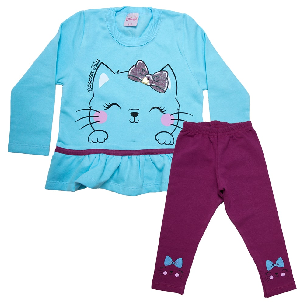 Conjunto Infantil Gatinha Azul  - Jeito Infantil