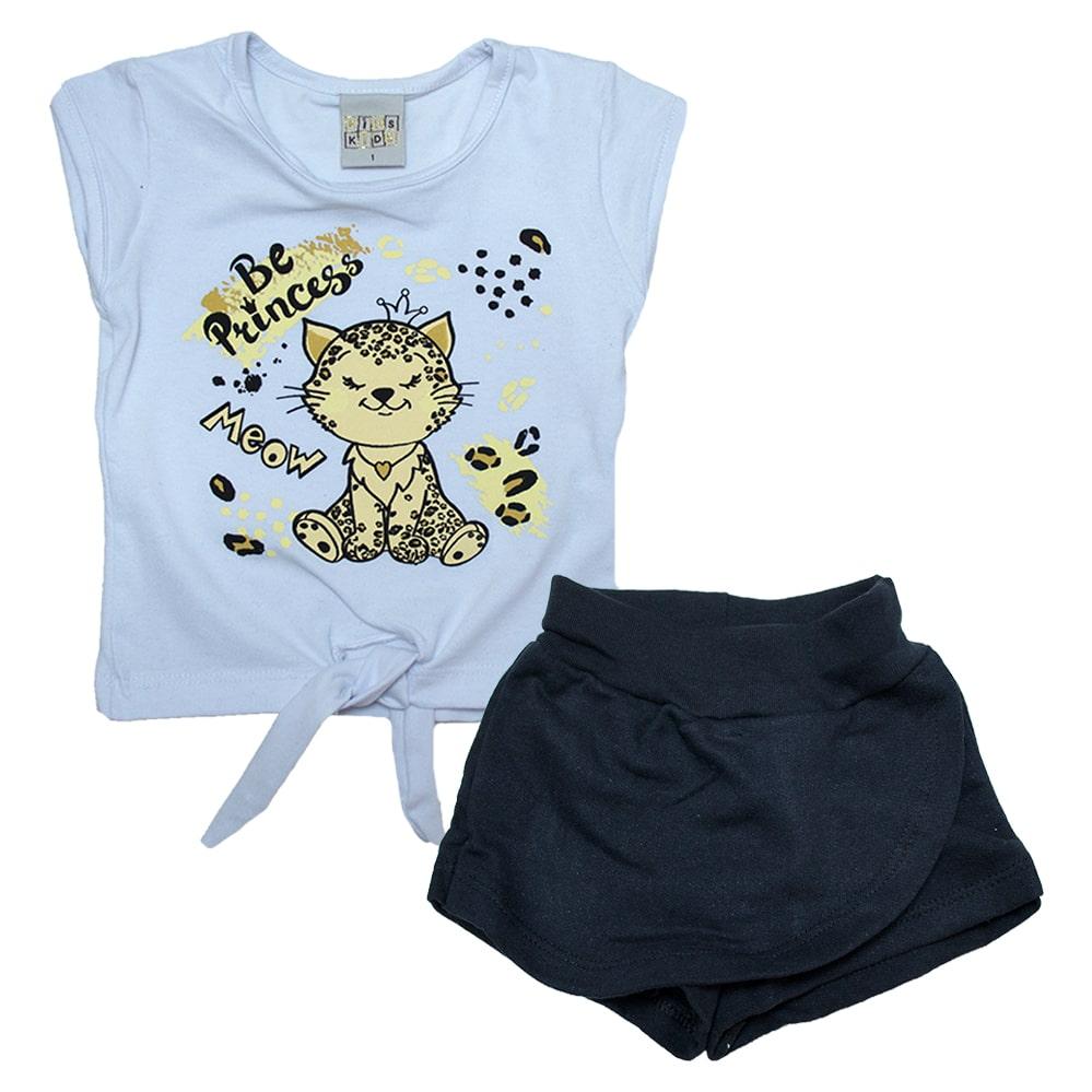 Conjunto Infantil Gatinha Branco  - Jeito Infantil