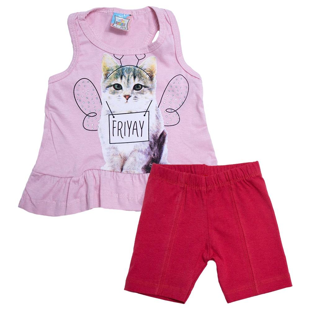 Conjunto Infantil Gatinha Rosa  - Jeito Infantil