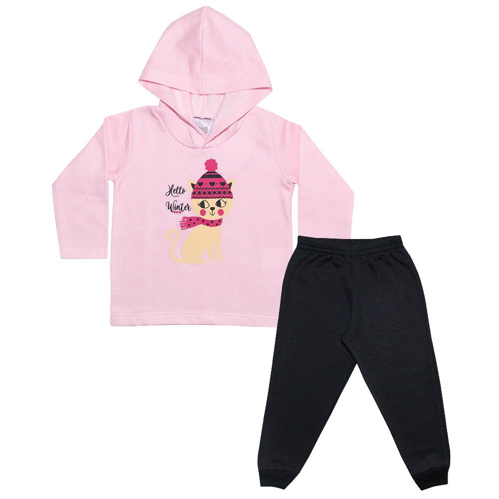 Conjunto Infantil Gatinho Rosa  - Jeito Infantil