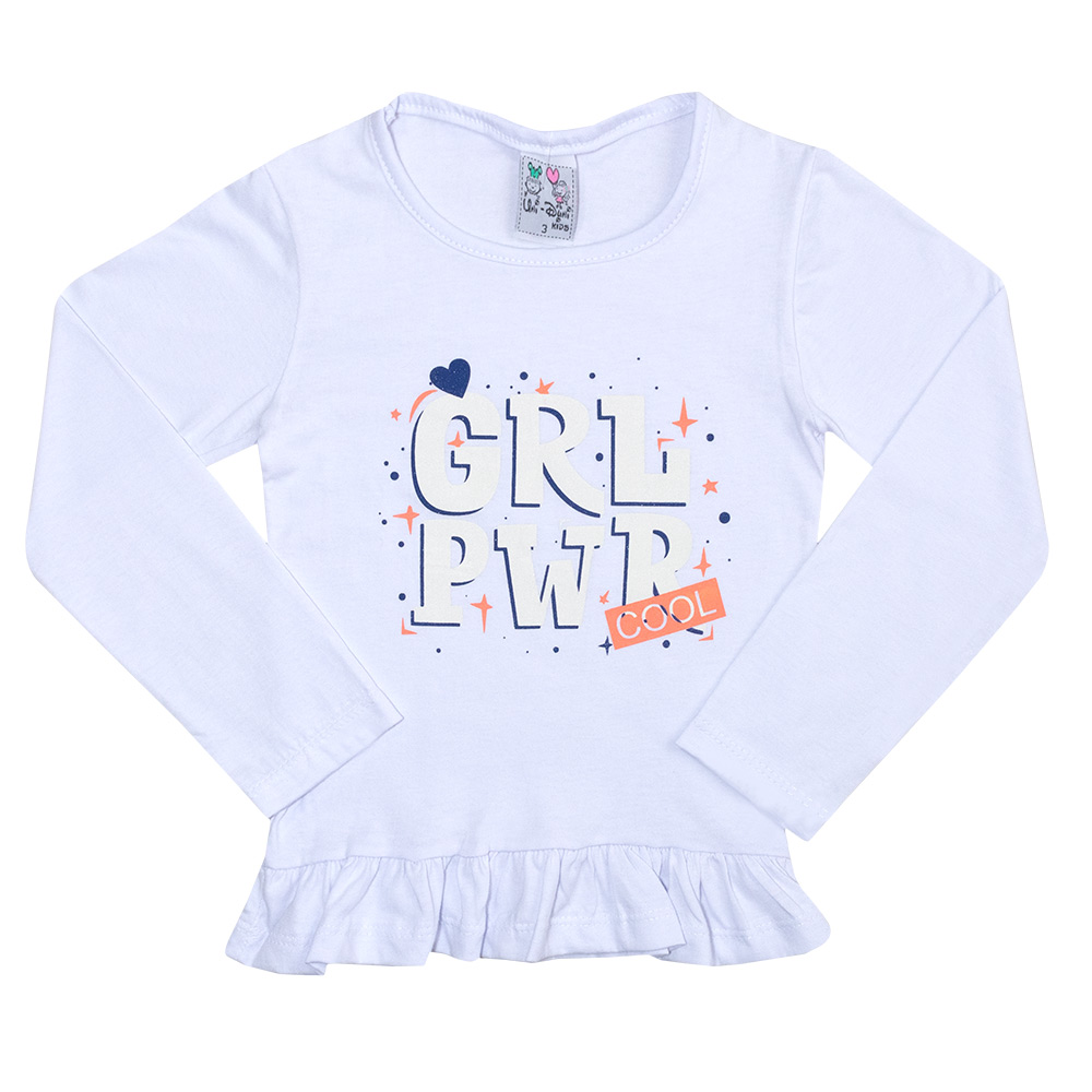Conjunto Infantil Girl Power Branco  - Jeito Infantil