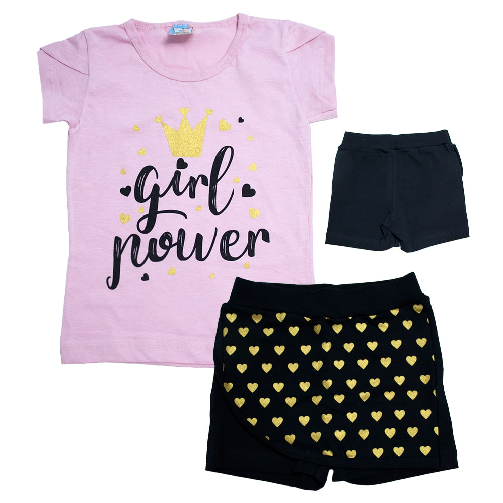 Conjunto Infantil Girl Power Rosa  - Jeito Infantil