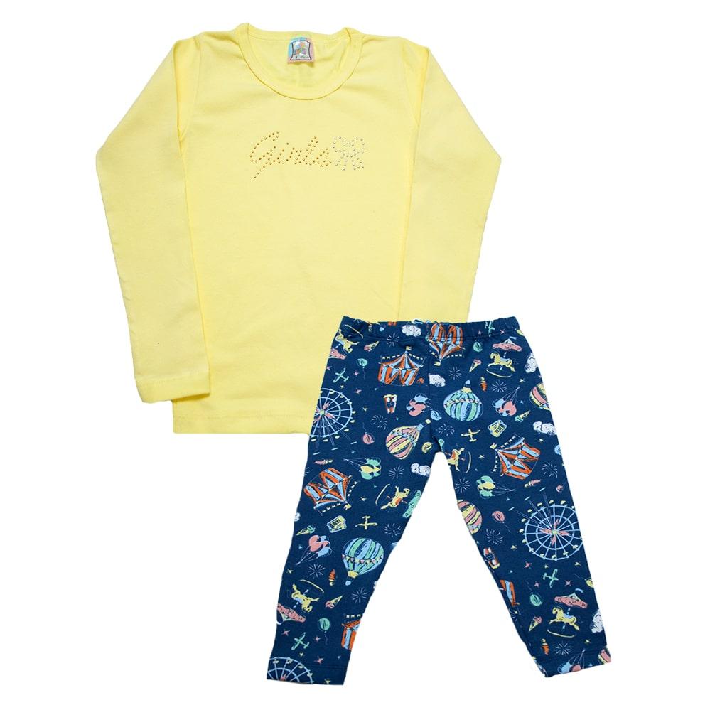 Conjunto Infantil Girls Amarelo  - Jeito Infantil