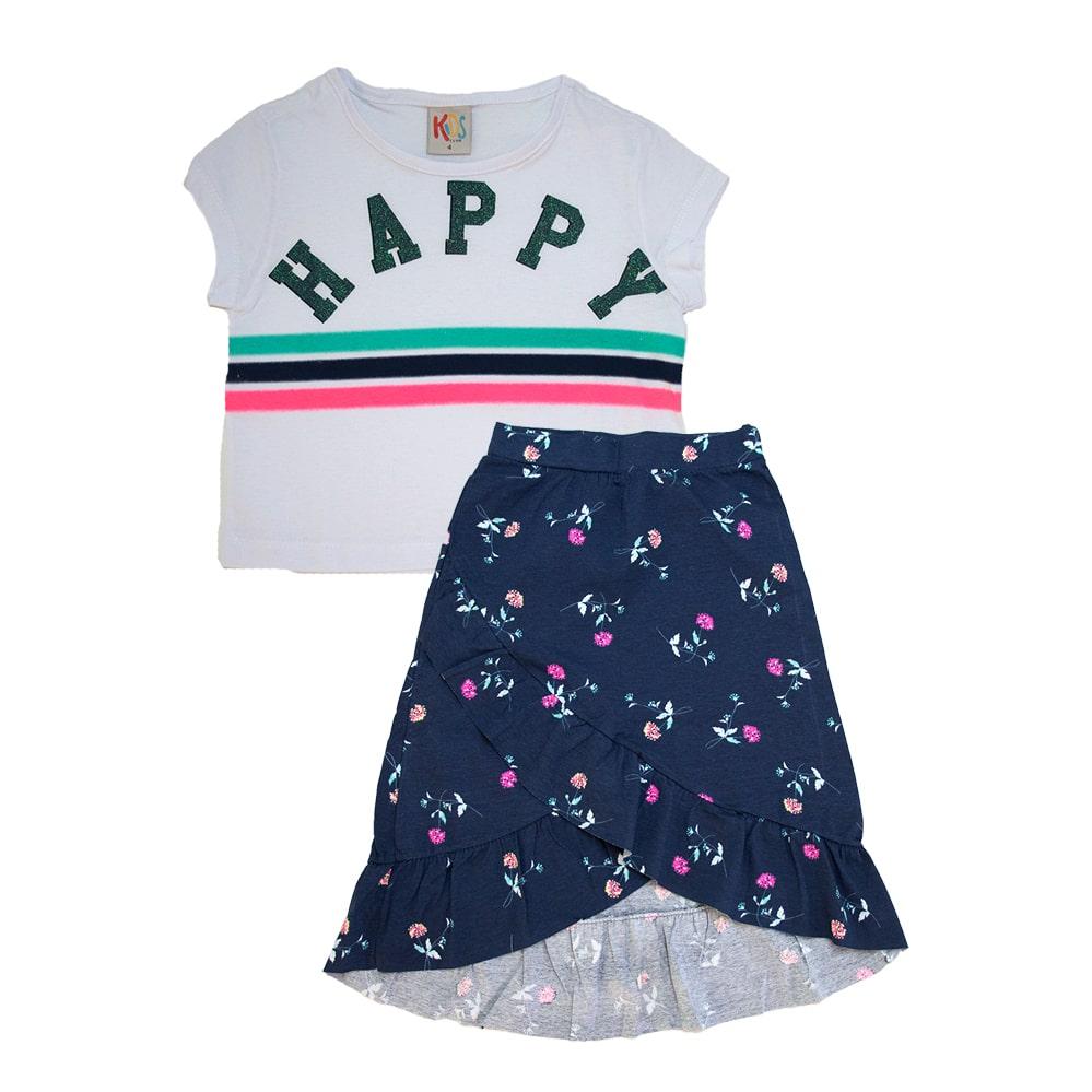 Conjunto Infantil Happy Branco e Marinho  - Jeito Infantil