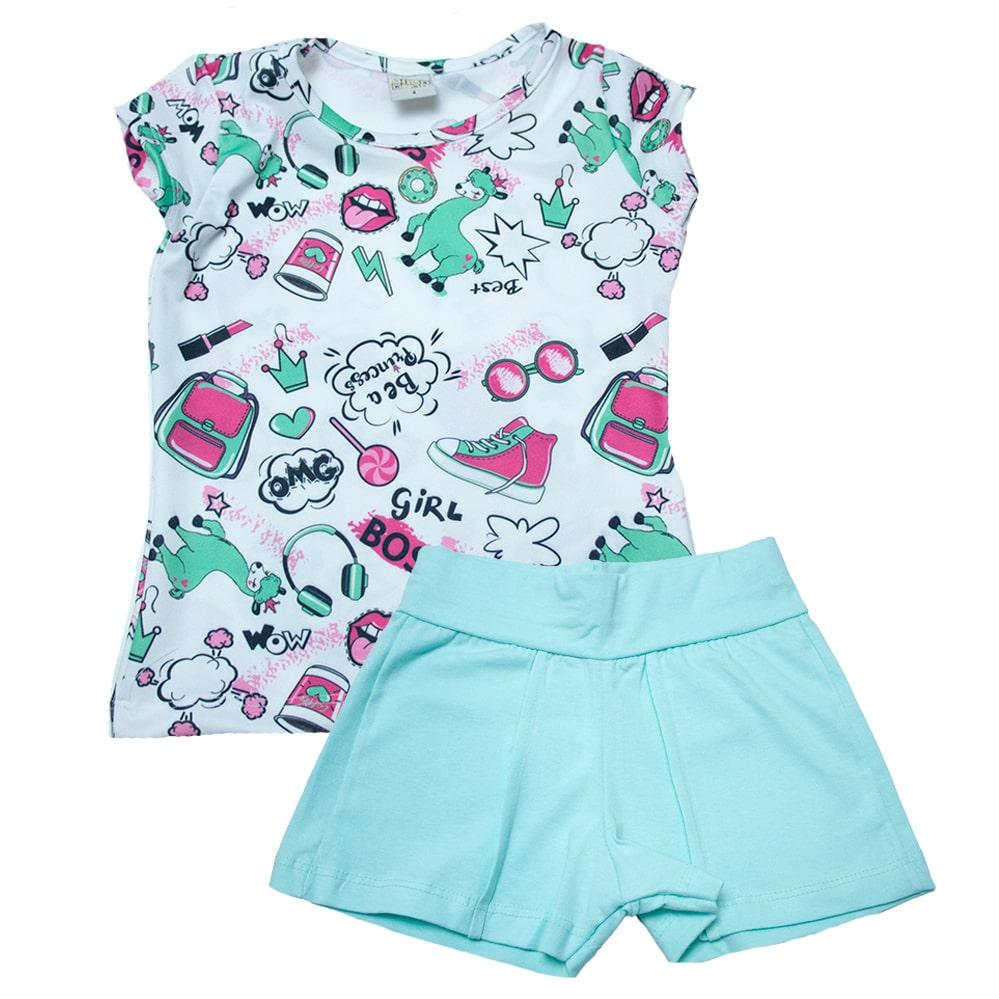 Conjunto Infantil Lhama Verde  - Jeito Infantil