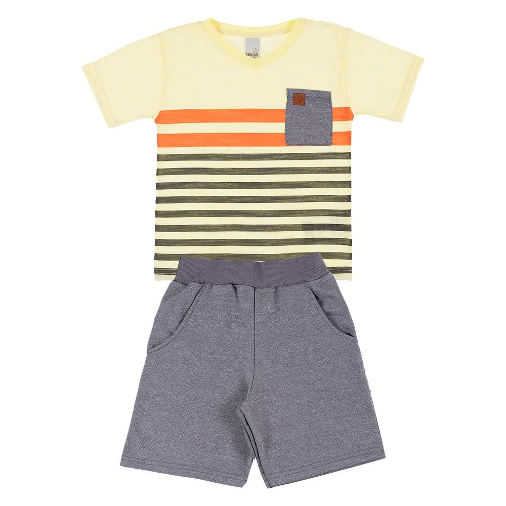 Conjunto Infantil Listras Amarelo  - Jeito Infantil