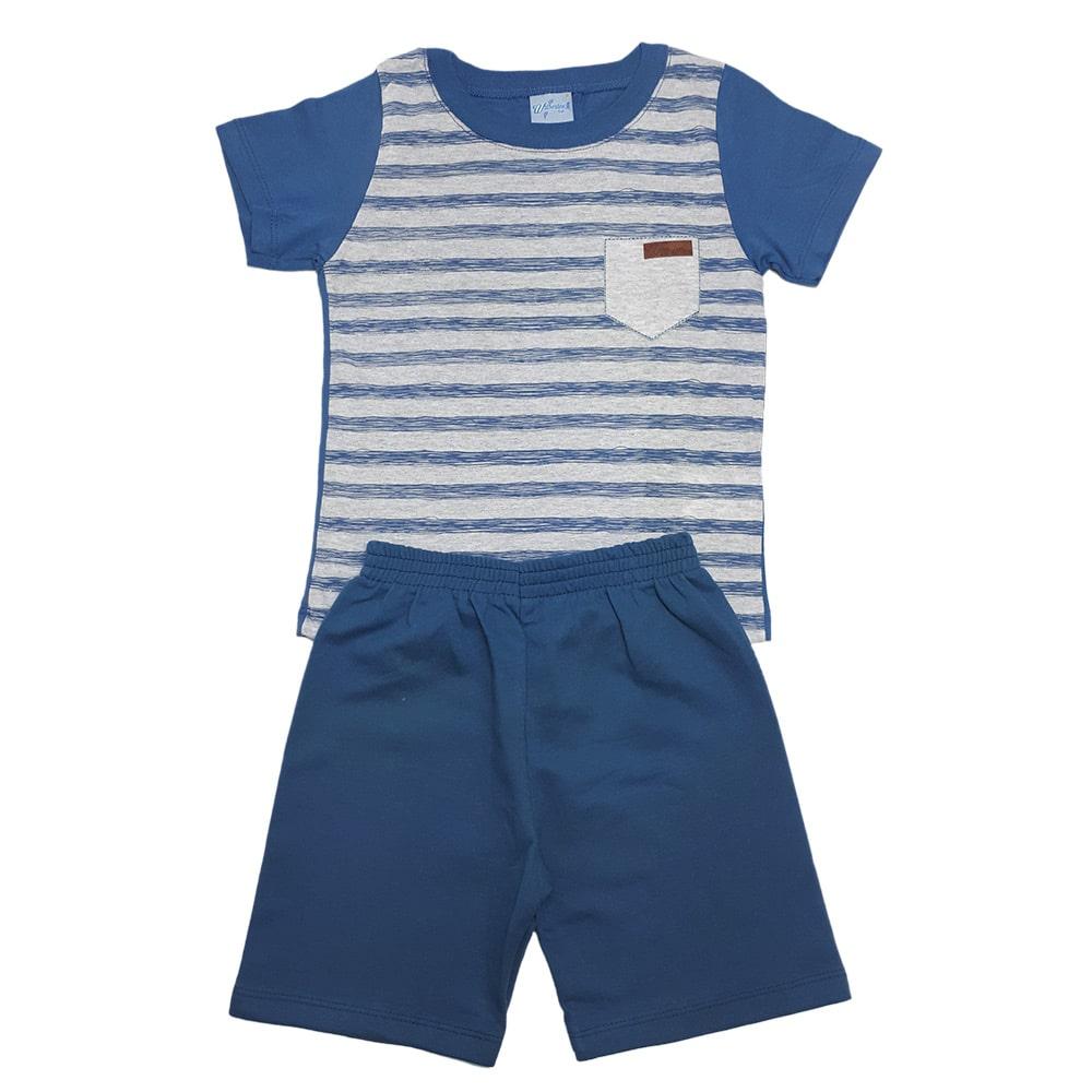 Conjunto Infantil Listras Azul  - Jeito Infantil