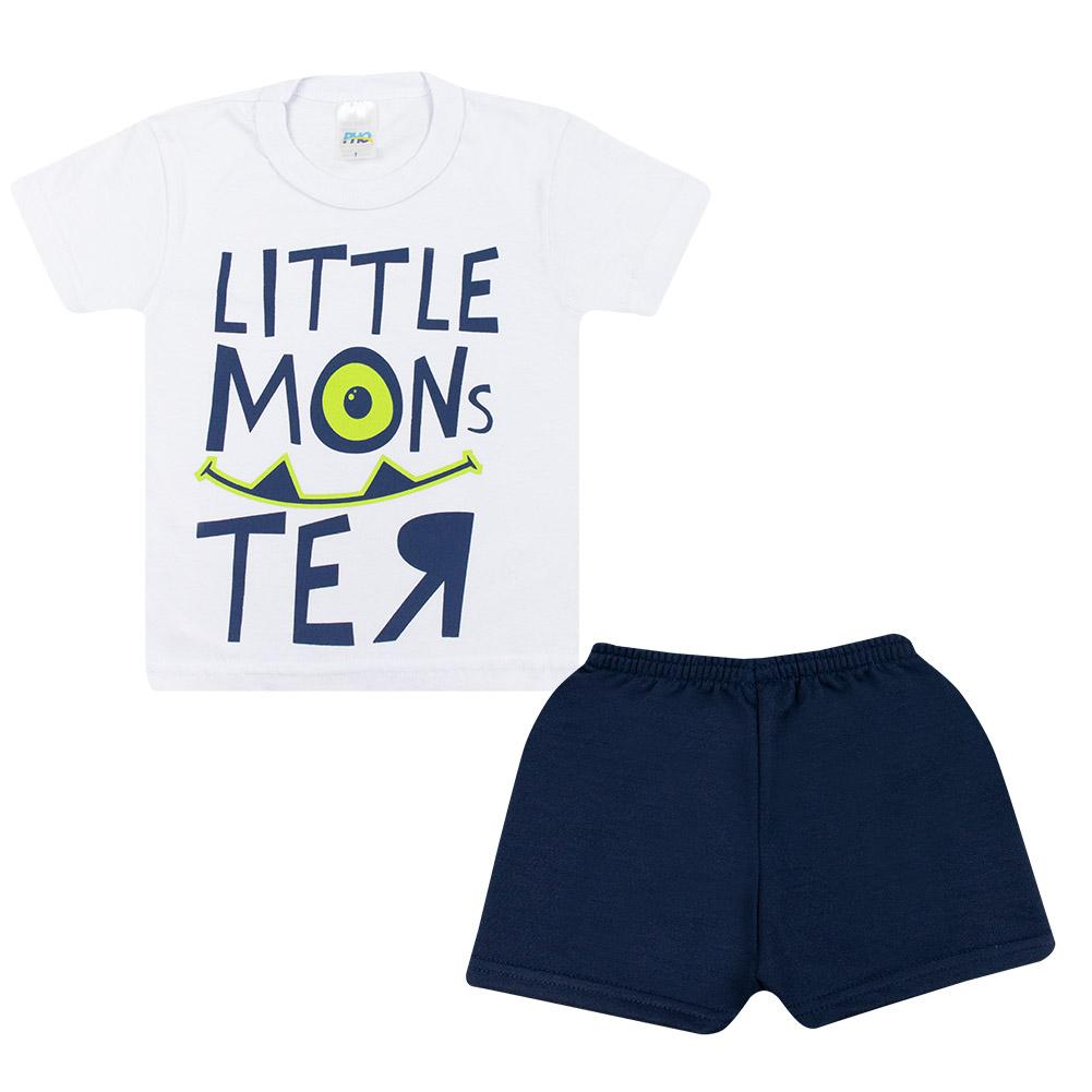 Conjunto Infantil Little Monster Branco  - Jeito Infantil
