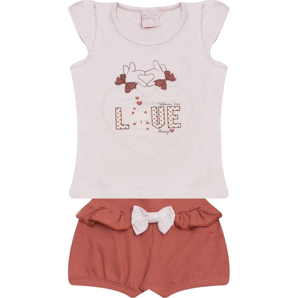 Conjunto Infantil Love Branco  - Jeito Infantil
