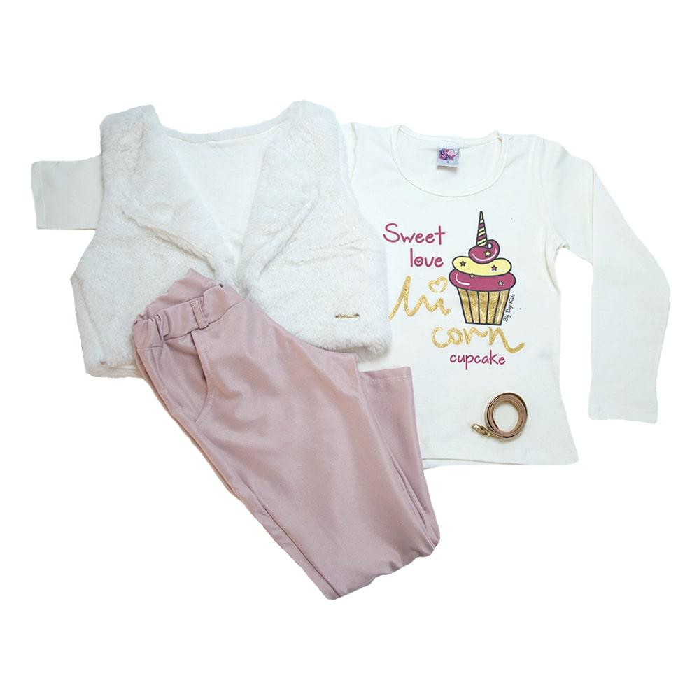 Conjunto Infantil Love Cupcake Pérola e Rosê  - Jeito Infantil