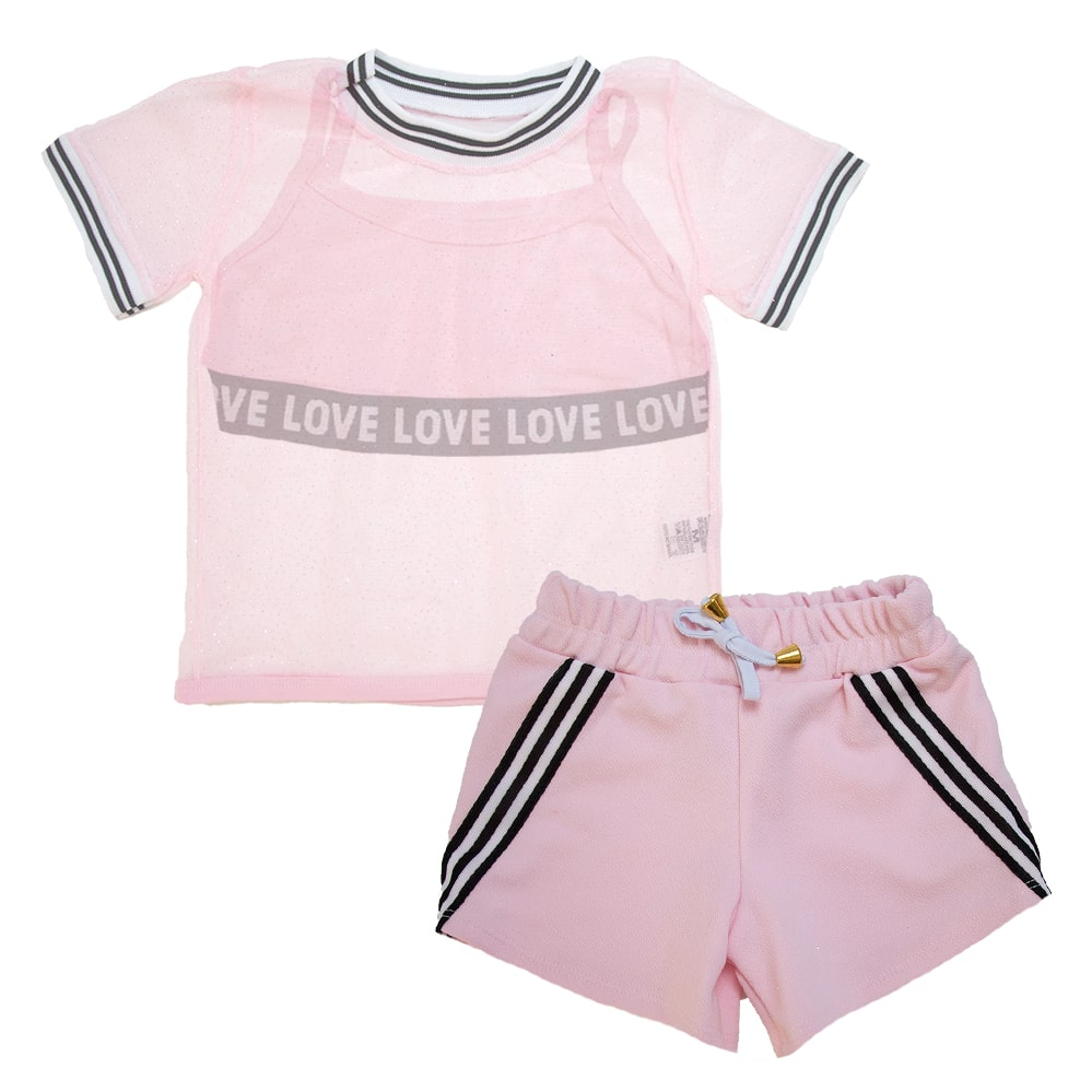 Conjunto Infantil Love Rosa  - Jeito Infantil