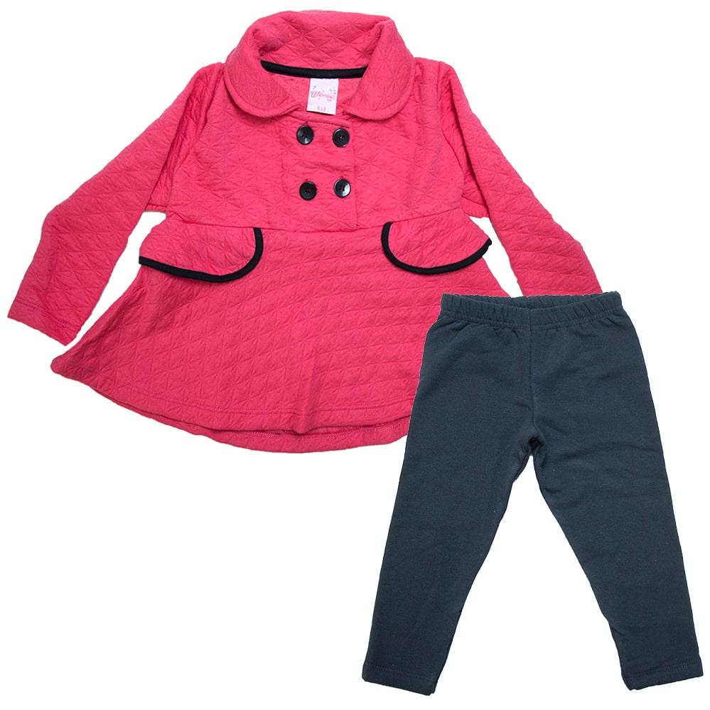 Conjunto Infantil Matelassê Com Botões Coral  - Jeito Infantil