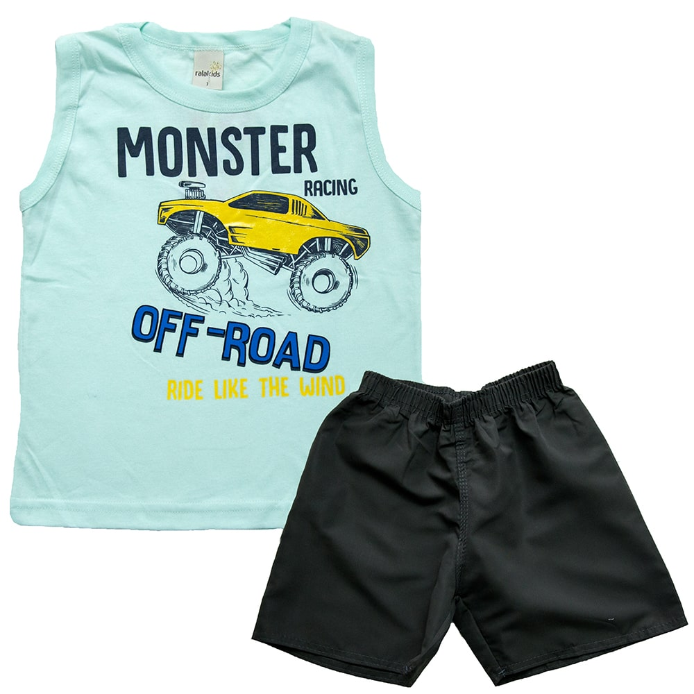 Conjunto Infantil Monster Off Road Verde  - Jeito Infantil