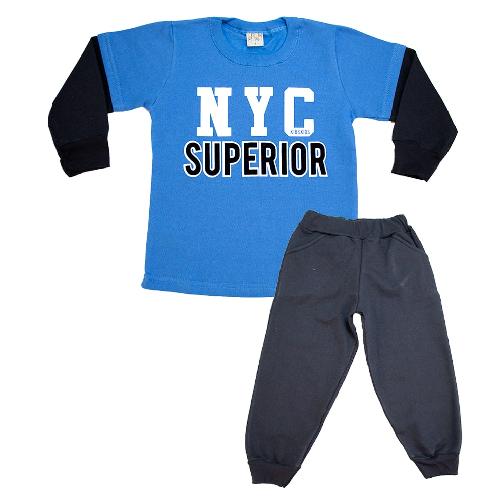 Conjunto Infantil New York Azul e Preto  - Jeito Infantil