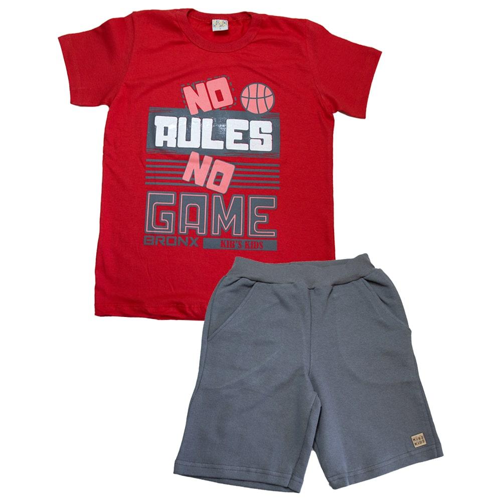 Conjunto Infantil No Rules Vermelho  - Jeito Infantil
