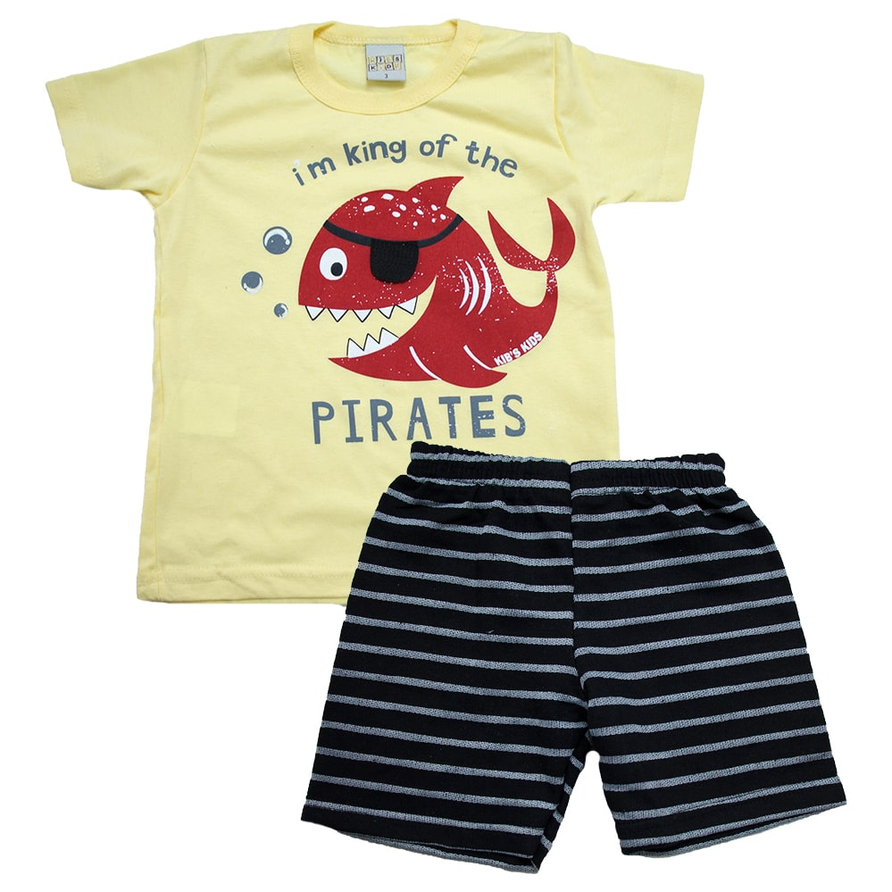 Conjunto Infantil Peixe Pirata Amarelo  - Jeito Infantil