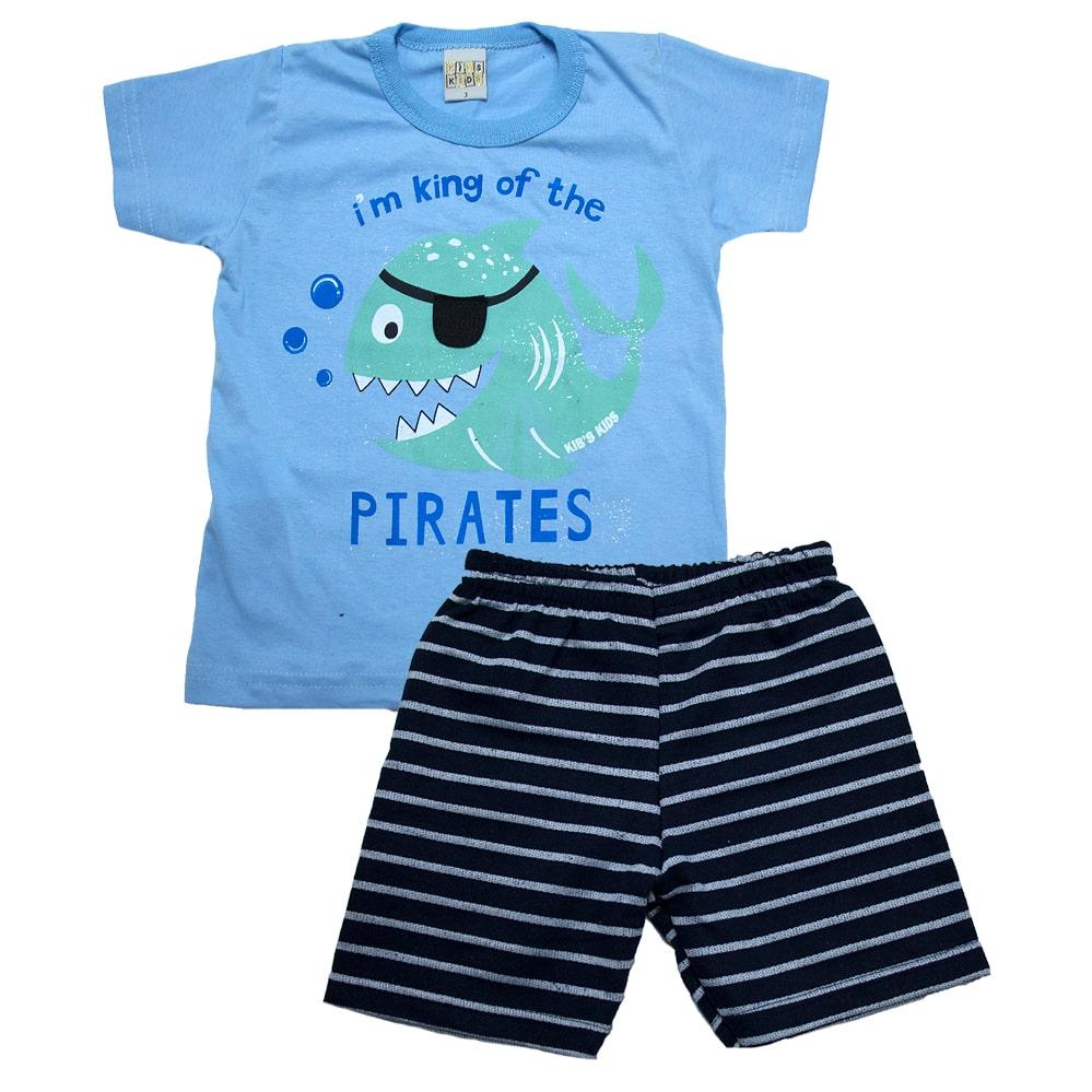 Conjunto Infantil Peixe Pirata Azul  - Jeito Infantil