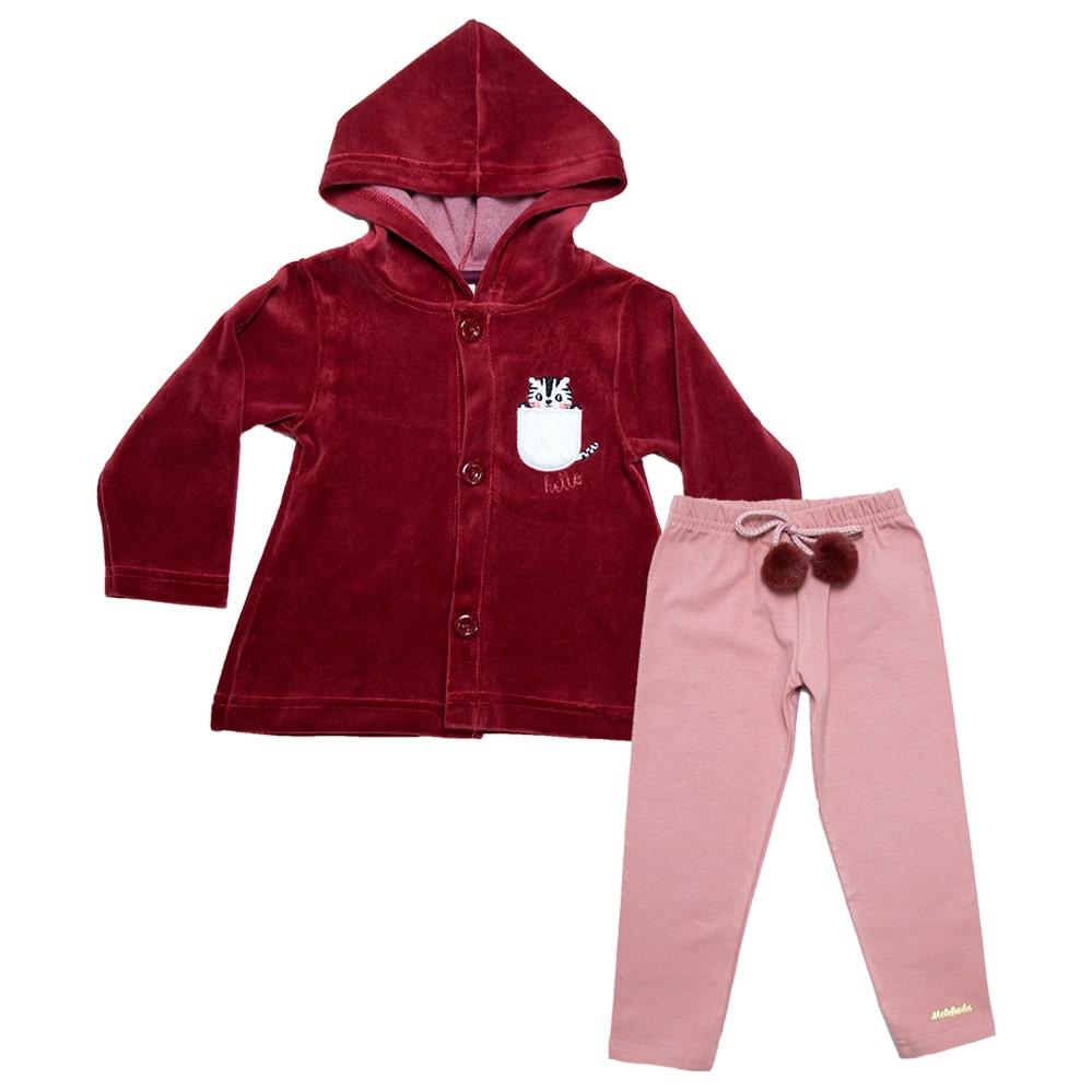 Conjunto Infantil Plush Com Pompom Vermelho  - Jeito Infantil