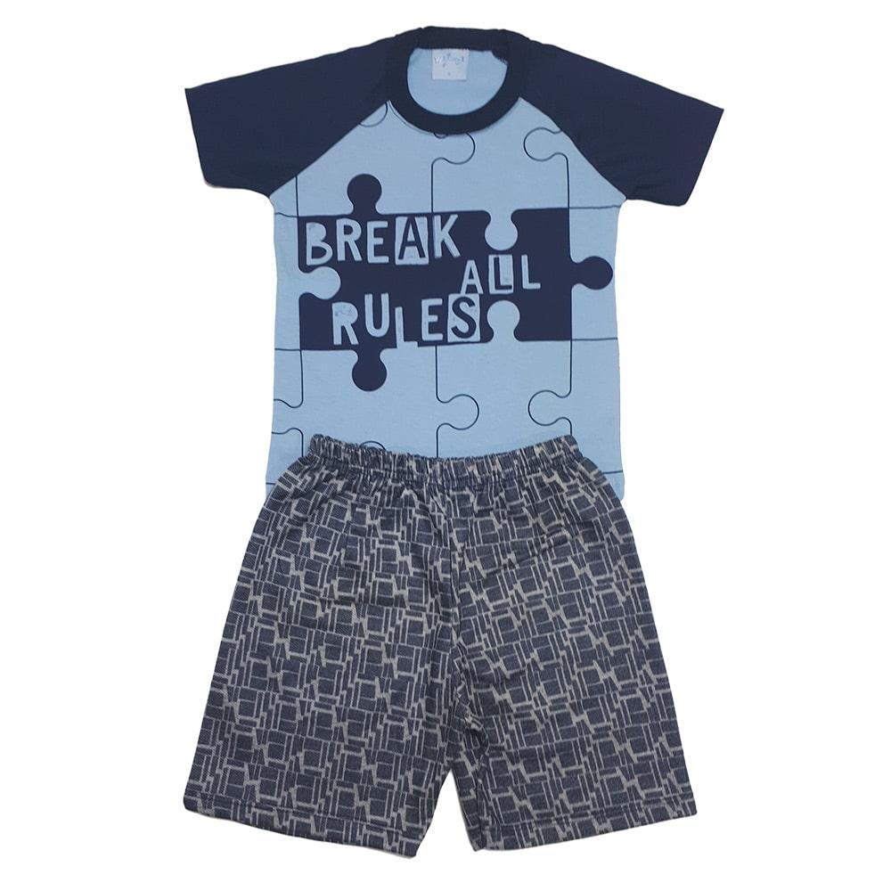 Conjunto Infantil Quebra Cabeça Azul  - Jeito Infantil