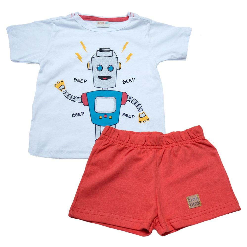 Conjunto Infantil Robô Branco  - Jeito Infantil