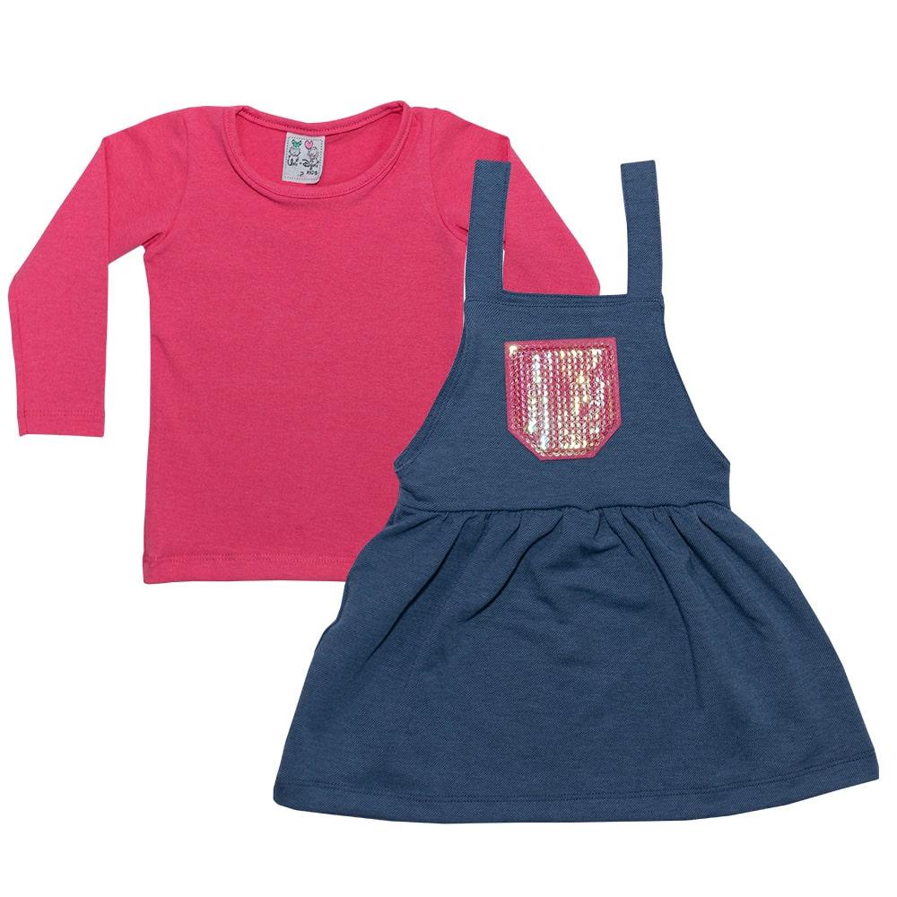 Conjunto Infantil Salopete Pink  - Jeito Infantil
