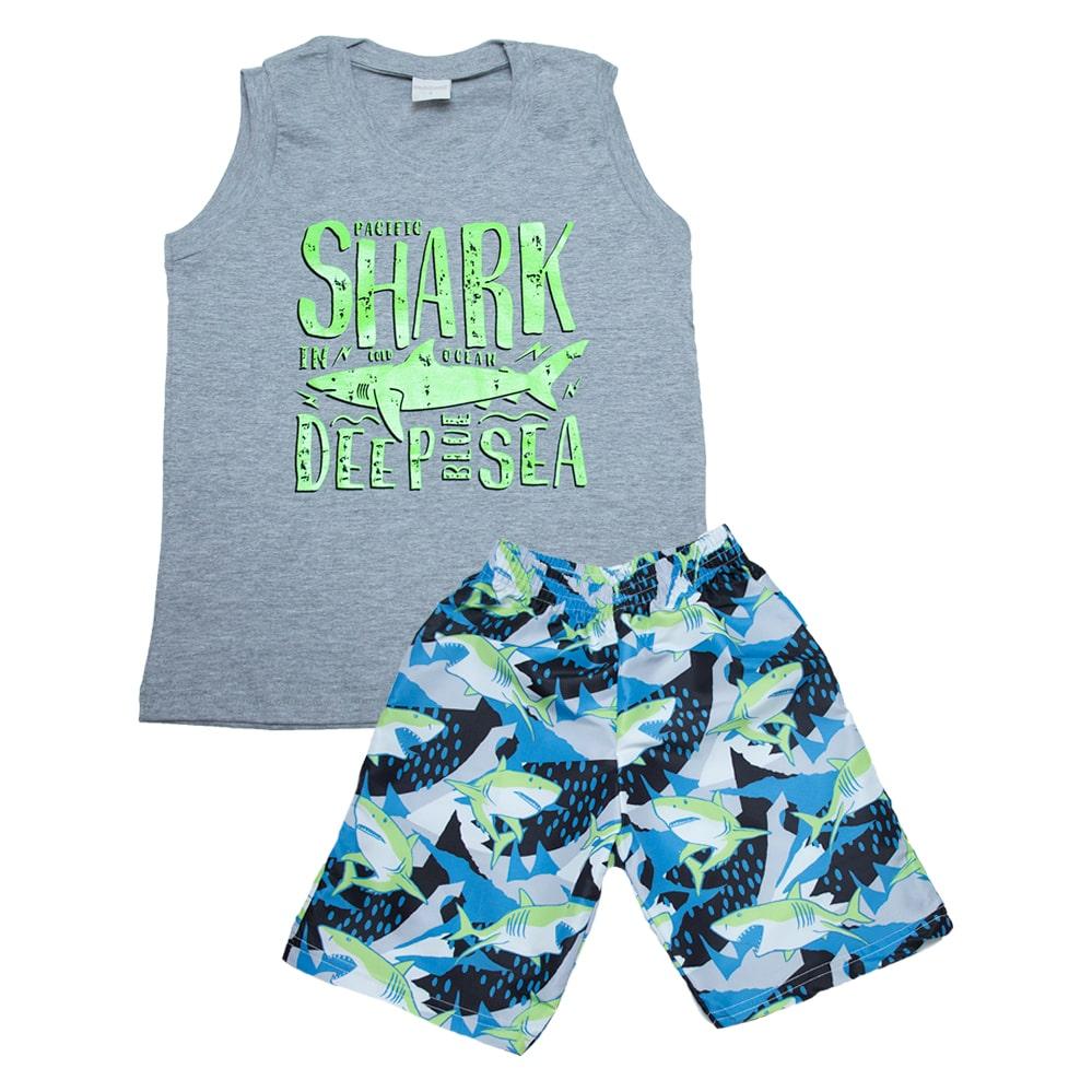 Conjunto Infantil Shark Mescla  - Jeito Infantil