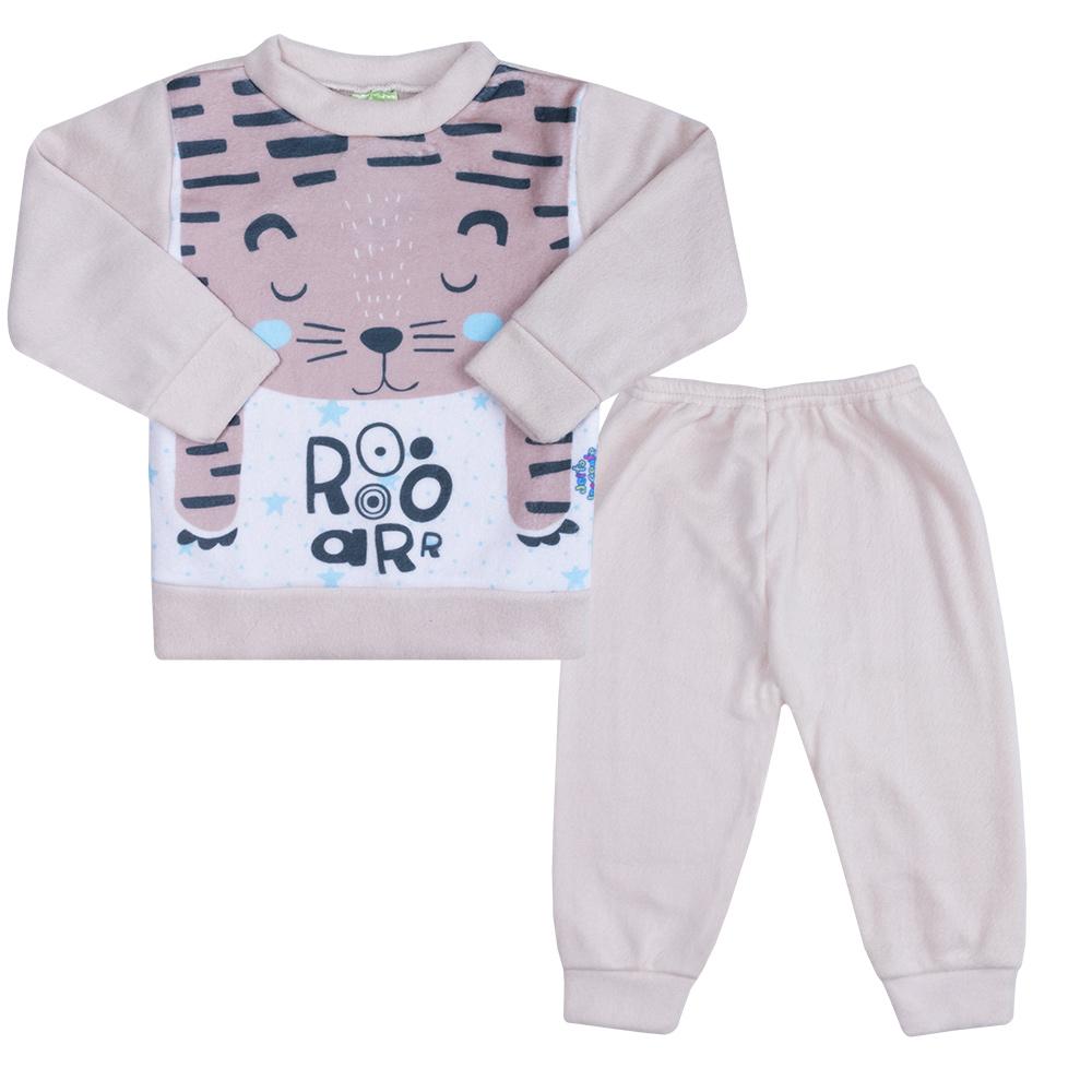 Conjunto Infantil Soft Tigre Bege  - Jeito Infantil