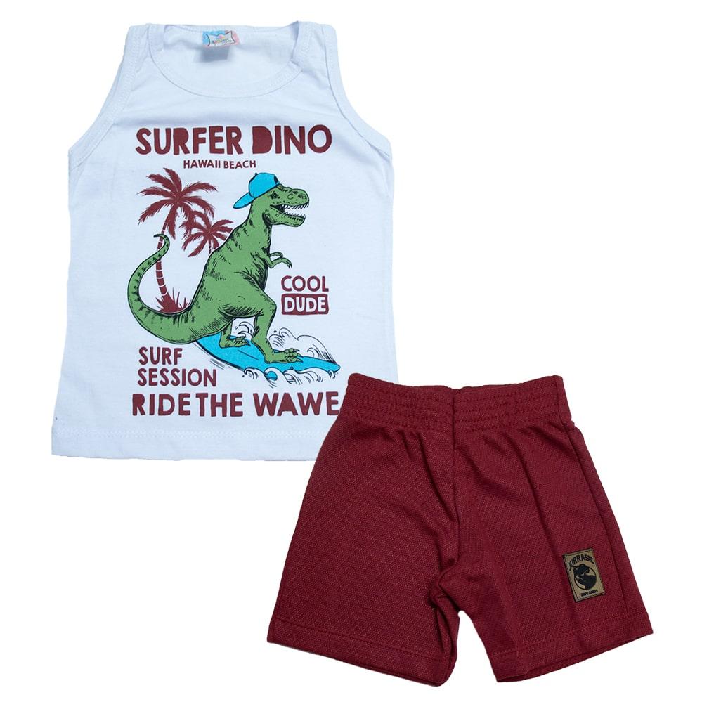 Conjunto Infantil Surfer Dino Branco  - Jeito Infantil
