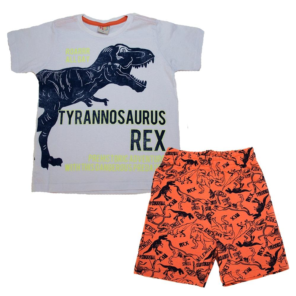 Conjunto Infantil T-Rex Branco  - Jeito Infantil