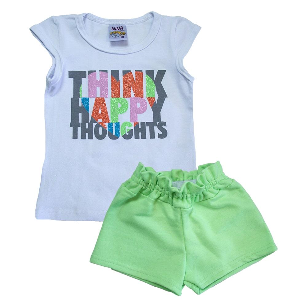 Conjunto Infantil Think Happy Branco  - Jeito Infantil