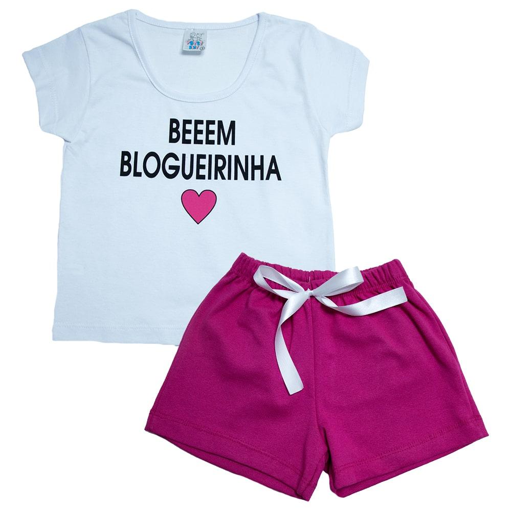 Conjunto Infantil Toda Blogueirinha Branco  - Jeito Infantil