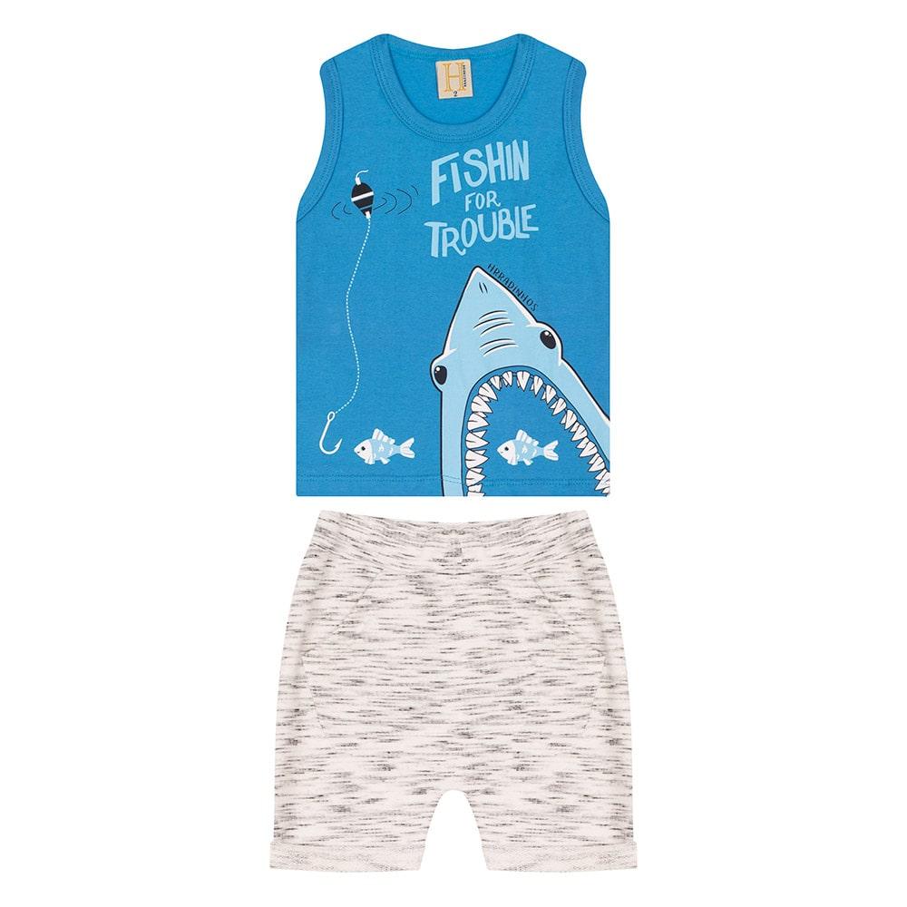 Conjunto Infantil Tubarão Azul  - Jeito Infantil