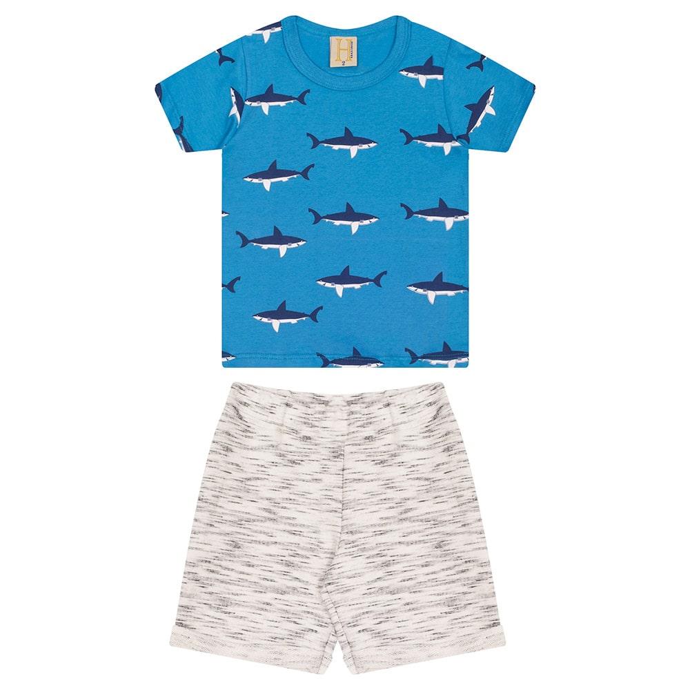 Conjunto Infantil Tubarões Azul  - Jeito Infantil
