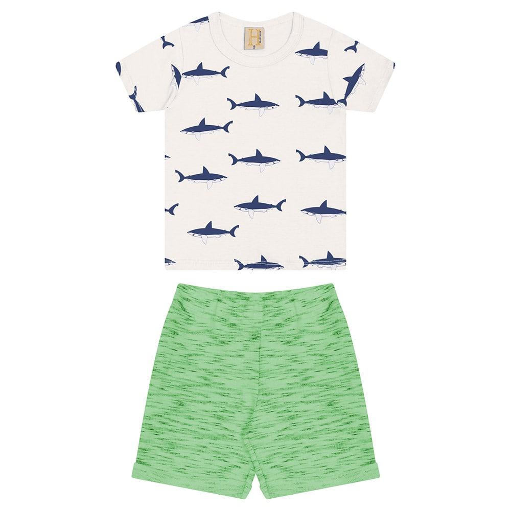 Conjunto Infantil Tubarões Pérola  - Jeito Infantil