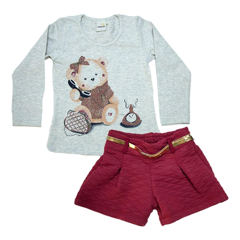 Conjunto Infantil Ursinha Mescla e Vermelho  - Jeito Infantil