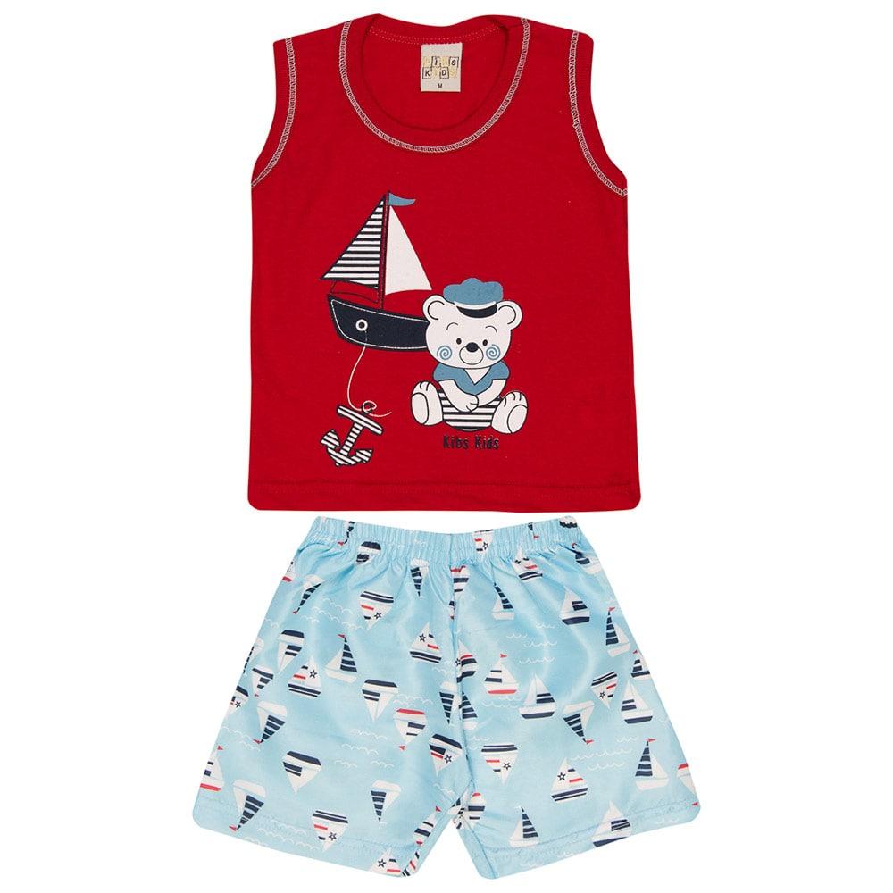 Conjunto Infantil Urso Marinheiro Vermelho  - Jeito Infantil
